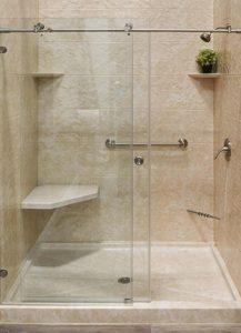 remodel shower with glass sliding doors, Blue Nest Design, Maryland Bath Conversions
