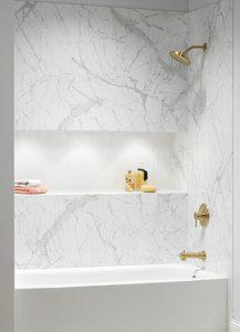 modern shower remodeling with built-in shelving, Blue Nest Design, Maryland Bath Conversions